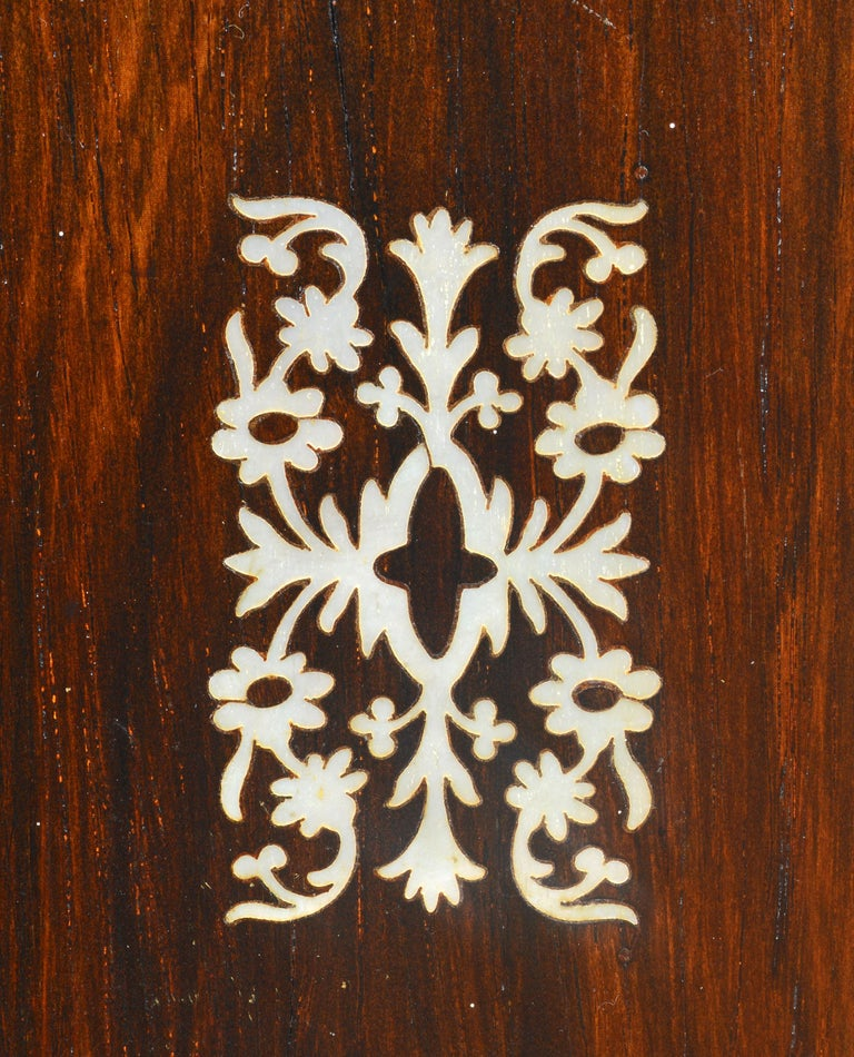 English Rosewood and Mother of Pearl Inlay Collector's Table Cabinet 9