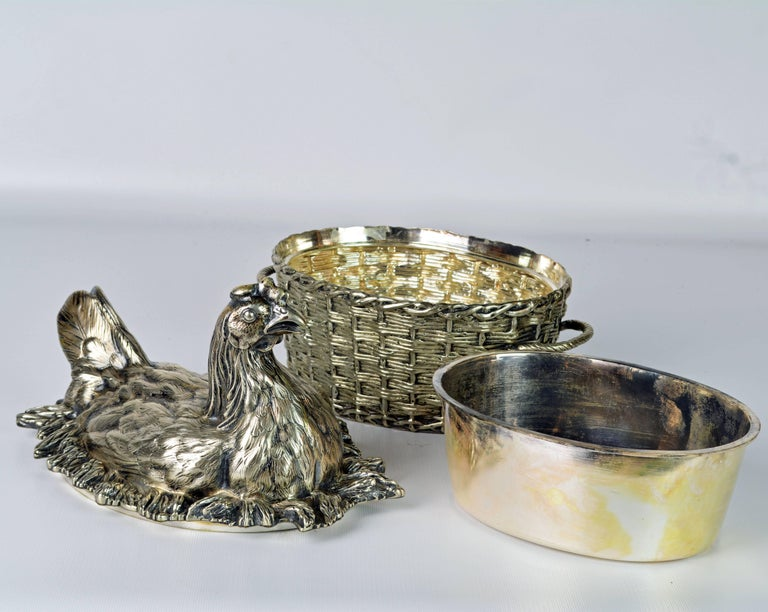 19th Century English Silver Plate Hen on Nest & Basket Egg Server, G. R. Collis 1