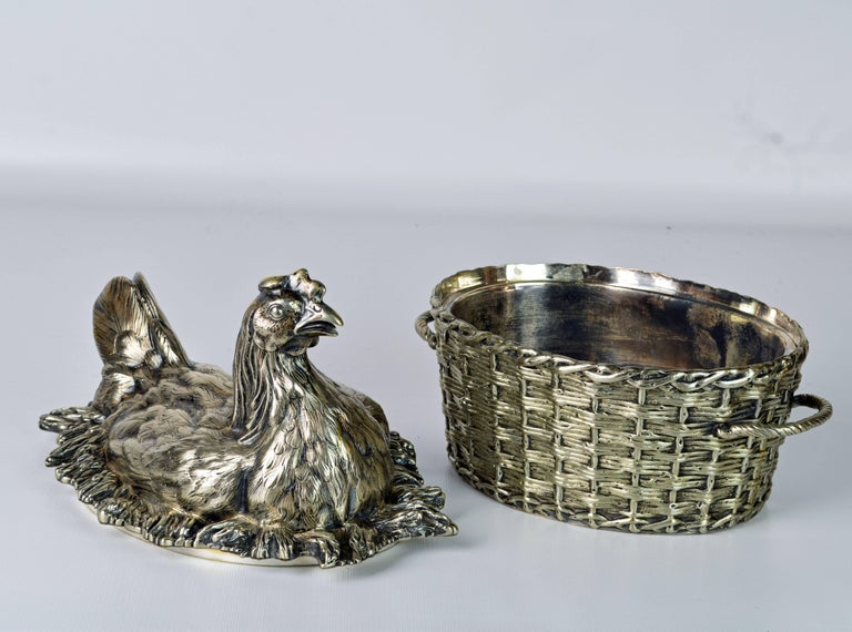 19th Century English Silver Plate Hen on Nest & Basket Egg Server, G. R. Collis 2