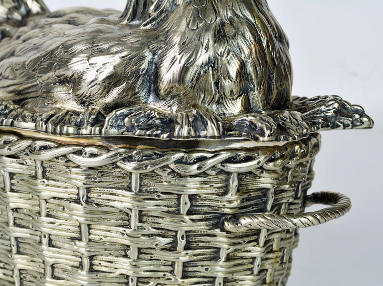 19th Century English Silver Plate Hen on Nest & Basket Egg Server, G. R. Collis 3