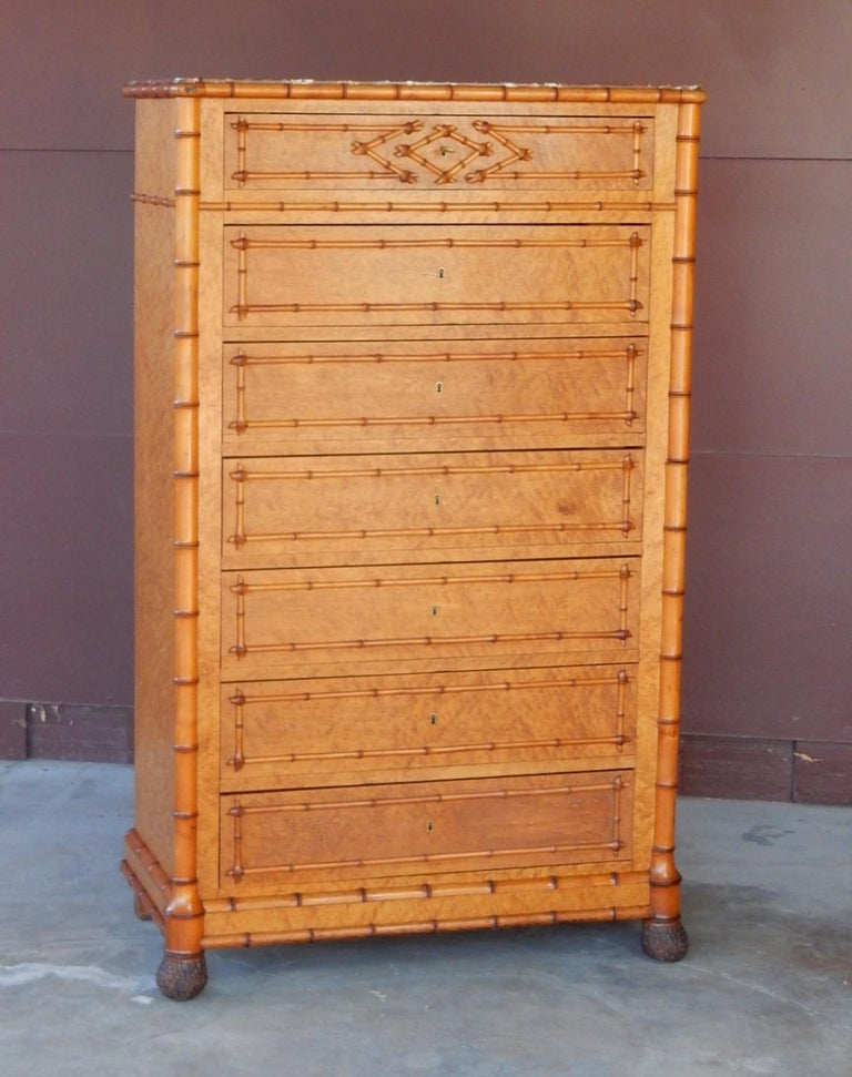 19th Century French Colonial Faux-Bamboo and Burl Wood Semainier Commode Chest For Sale 7
