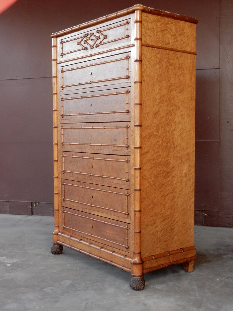 19th Century French Colonial Faux-Bamboo and Burl Wood Semainier Commode Chest For Sale 8