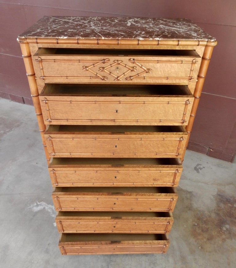 19th Century French Colonial Faux-Bamboo and Burl Wood Semainier Commode Chest For Sale 1