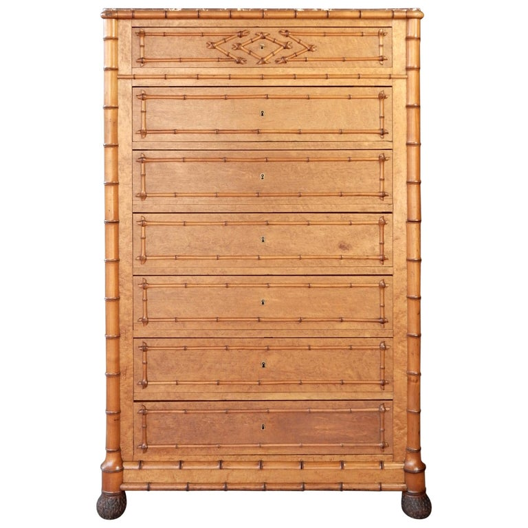 19th Century French Colonial Faux-Bamboo and Burl Wood Semainier Commode Chest For Sale