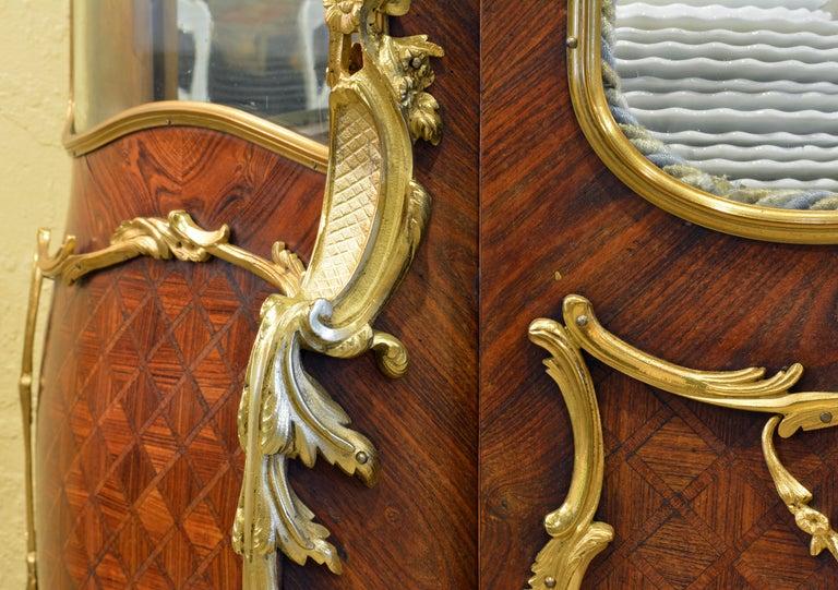 19th Century Louis XV Style Ormolu Mounted Parquetry Vernis Martin Vitrine 5