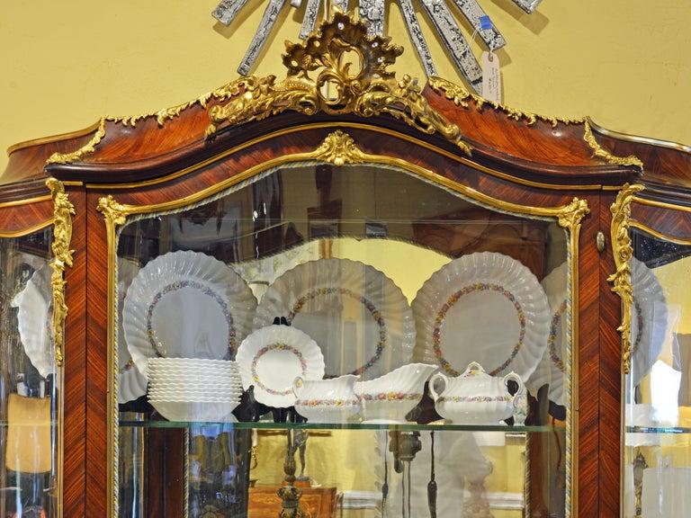French 19th Century Louis XV Style Ormolu Mounted Parquetry Vernis Martin Vitrine