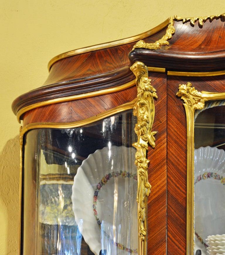 Gilt 19th Century Louis XV Style Ormolu Mounted Parquetry Vernis Martin Vitrine