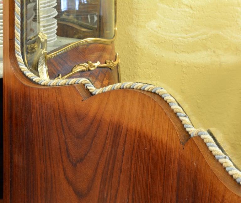 19th Century Louis XV Style Ormolu Mounted Parquetry Vernis Martin Vitrine 1