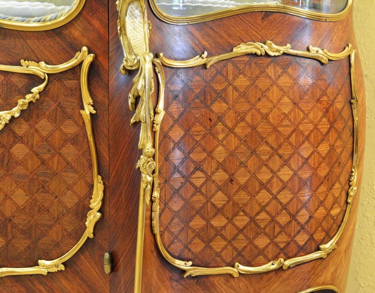19th Century Louis XV Style Ormolu Mounted Parquetry Vernis Martin Vitrine 2