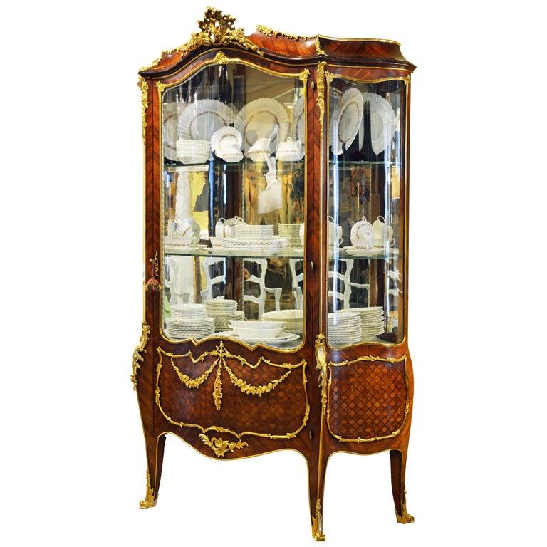 19th Century Louis XV Style Ormolu Mounted Parquetry Vernis Martin Vitrine