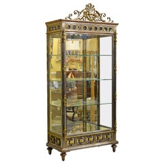 19th Century French Neoclassical Glass and Steel Curio Cabinet or Vitrine