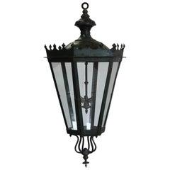 19th Century Green Painted Tole Lantern