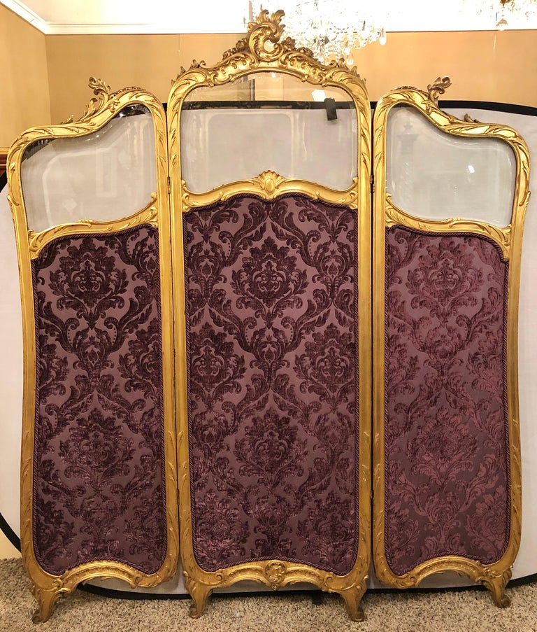 European 19th Century Louis XV, Giltwood Three Fold Screen with Original Glass Panels  For Sale