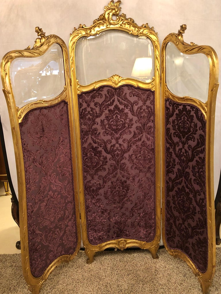Mid-20th Century 19th Century Louis XV, Giltwood Three Fold Screen with Original Glass Panels  For Sale
