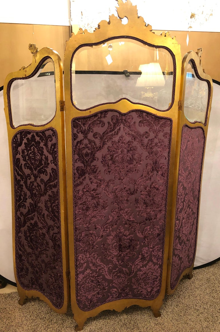 19th Century Louis XV, Giltwood Three Fold Screen with Original Glass Panels  For Sale 1