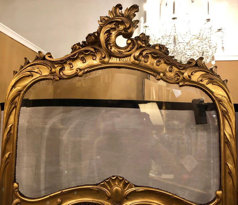 19th Century Louis XV, Giltwood Three Fold Screen with Original Glass Panels  For Sale 2