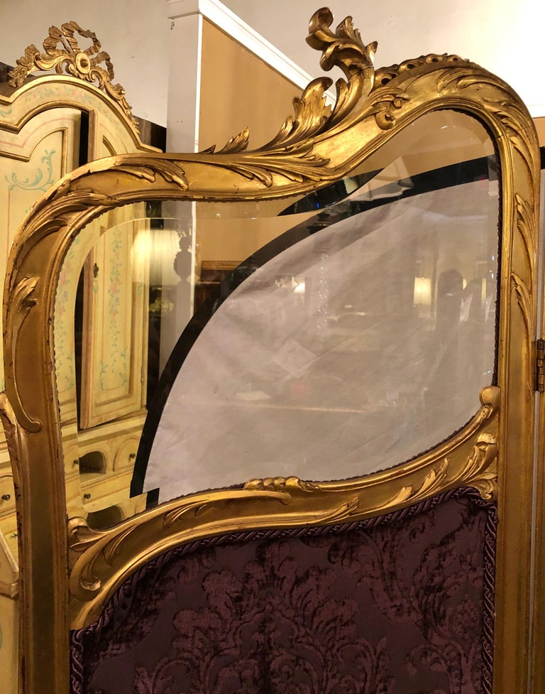19th Century Louis XV, Giltwood Three Fold Screen with Original Glass Panels  For Sale 4