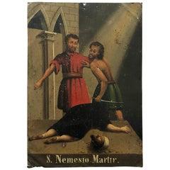 19th Century S. Nemesto Martir Oil on Tin Painting