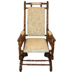 19th Centruy, American Hunzinger Style Walnut Platform Rocking Chair