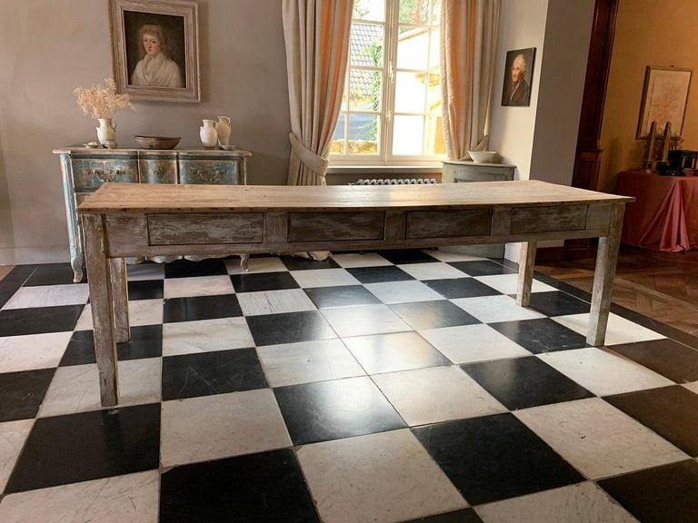 19th Centruy Oak and Poplar Farmhouse Table For Sale 3