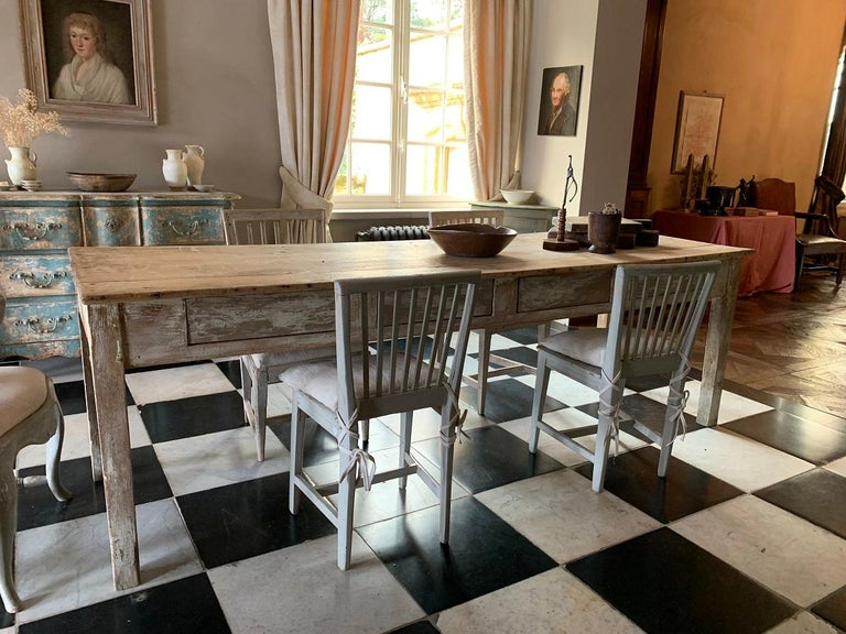 19th Centruy Oak and Poplar Farmhouse Table For Sale 4