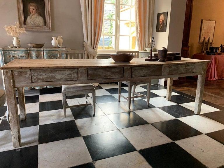19th Centruy Oak and Poplar Farmhouse Table For Sale 5