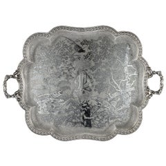 19th Century French Solid Silver & Niello Serving Tray, circa 1870