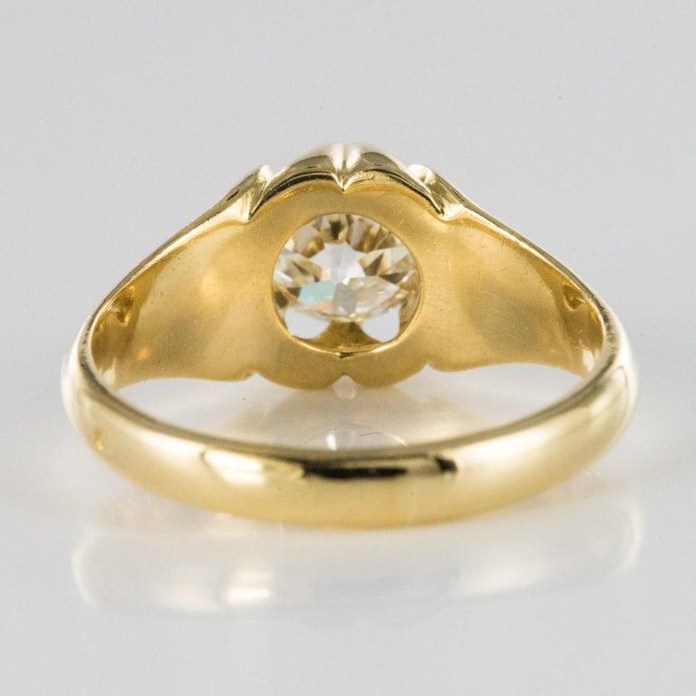 19th Century 0.80 Carat Diamond 18 Karat Yellow Gold Bangle Ring For Sale 5
