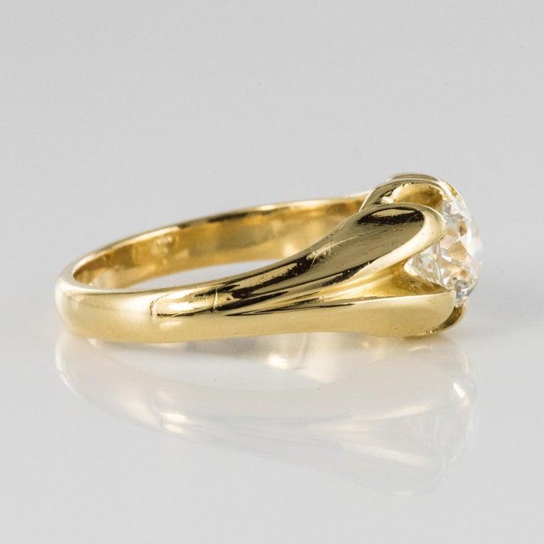19th Century 0.80 Carat Diamond 18 Karat Yellow Gold Bangle Ring For Sale 6