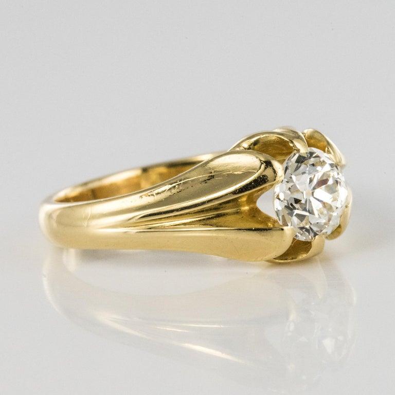 19th Century 0.80 Carat Diamond 18 Karat Yellow Gold Bangle Ring For Sale 7