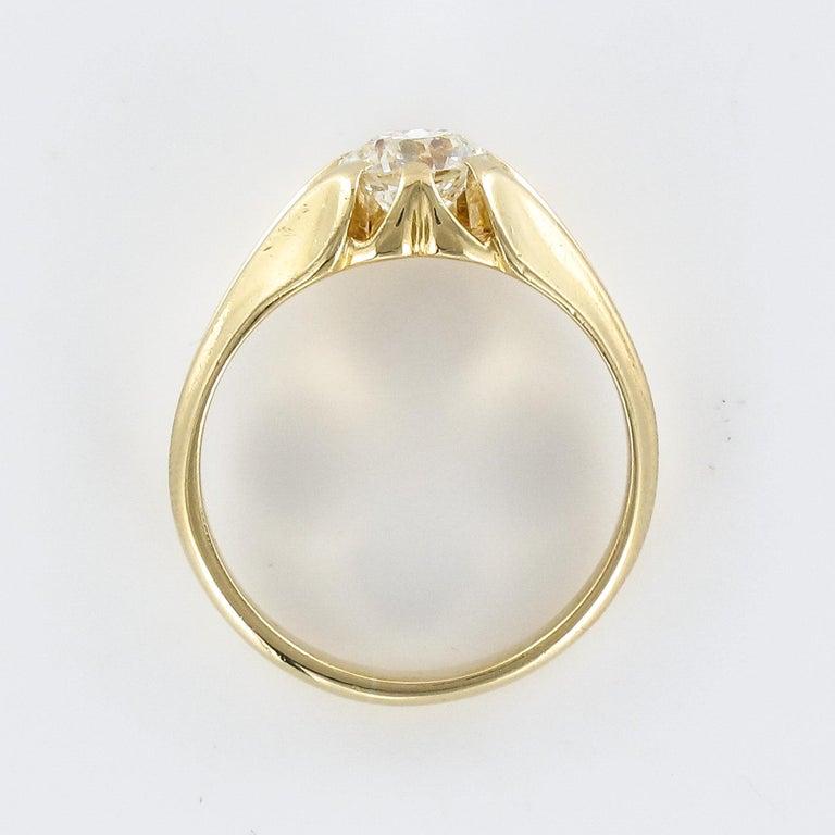 19th Century 0.80 Carat Diamond 18 Karat Yellow Gold Bangle Ring For Sale 8