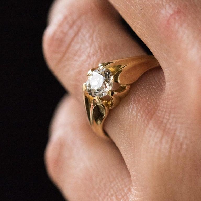 Women's or Men's 19th Century 0.80 Carat Diamond 18 Karat Yellow Gold Bangle Ring For Sale