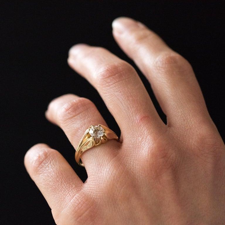 19th Century 0.80 Carat Diamond 18 Karat Yellow Gold Bangle Ring For Sale 1