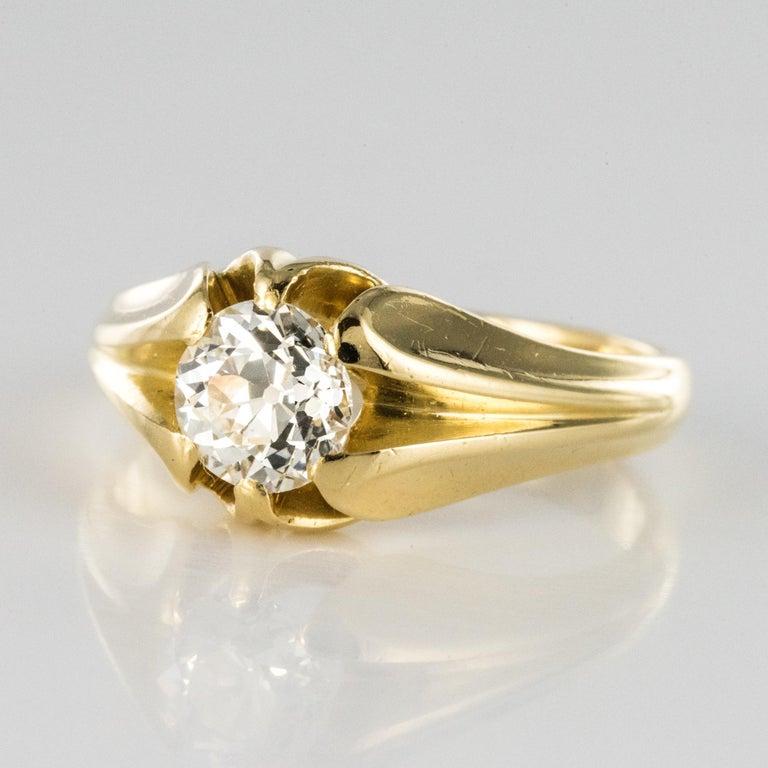 19th Century 0.80 Carat Diamond 18 Karat Yellow Gold Bangle Ring For Sale 2