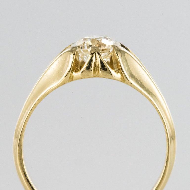 19th Century 0.80 Carat Diamond 18 Karat Yellow Gold Bangle Ring For Sale 3