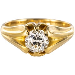 19th Century 0.80 Carat Diamond 18 Karat Yellow Gold Bangle Ring
