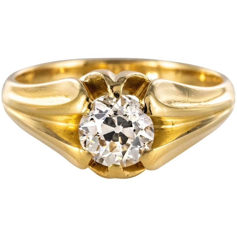 19th Century 0.80 Carat Diamond 18 Karat Yellow Gold Bangle Ring For Sale