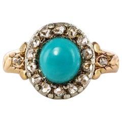 19th Century 0.90 Carat Turquoise Diamonds 18 Karat Yellow Gold Silver Ring