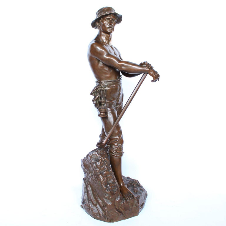 Polished 19th Century 1 Metre Tall Bronze Sculpture of a Bare Chested Man, France 1890 For Sale