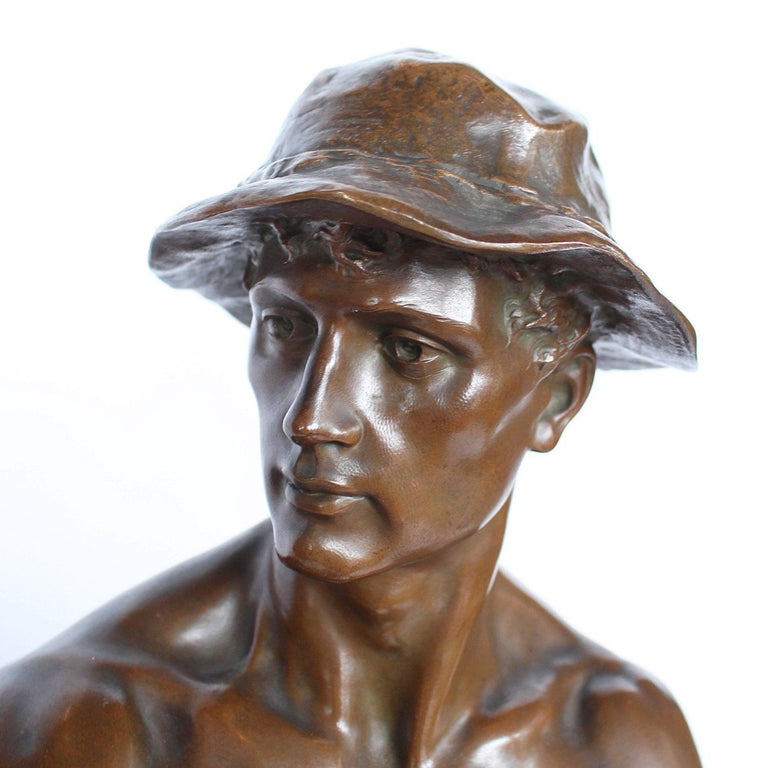 19th Century 1 Metre Tall Bronze Sculpture of a Bare Chested Man, France 1890 In Good Condition For Sale In Forest Row, East Sussex