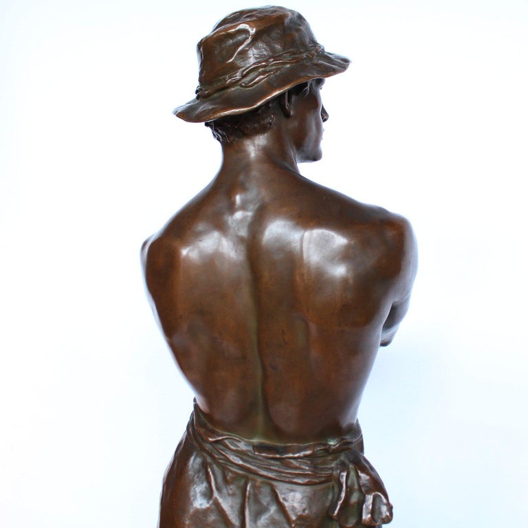 19th Century 1 Metre Tall Bronze Sculpture of a Bare Chested Man, France 1890 For Sale 2