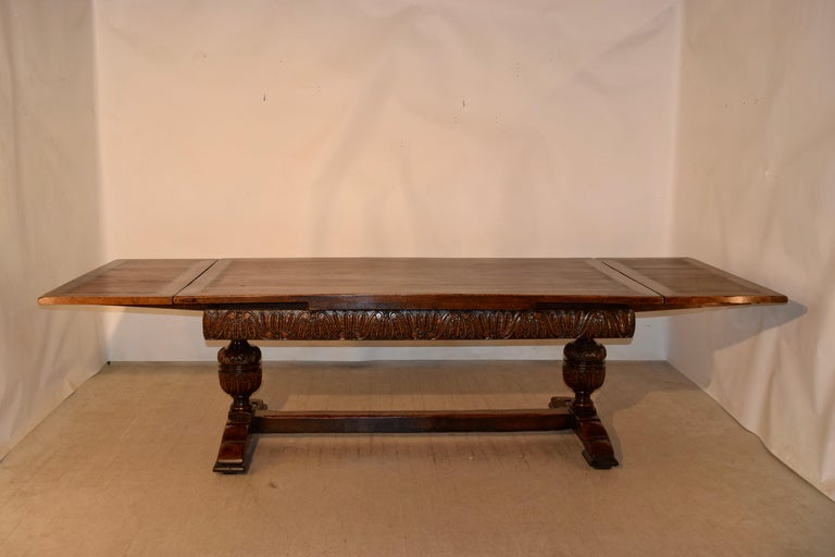 19th Century English Oak Draw Leaf Table For Sale 6