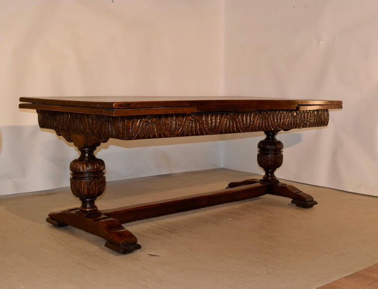 Early Victorian 19th Century English Oak Draw Leaf Table For Sale