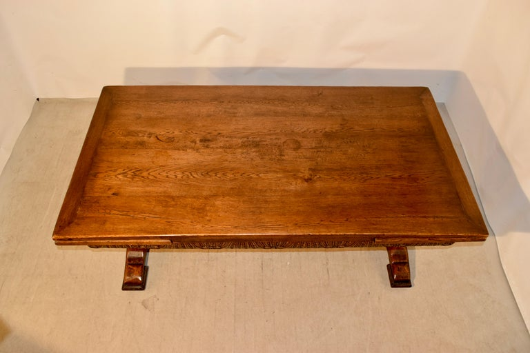 19th Century English Oak Draw Leaf Table For Sale 1