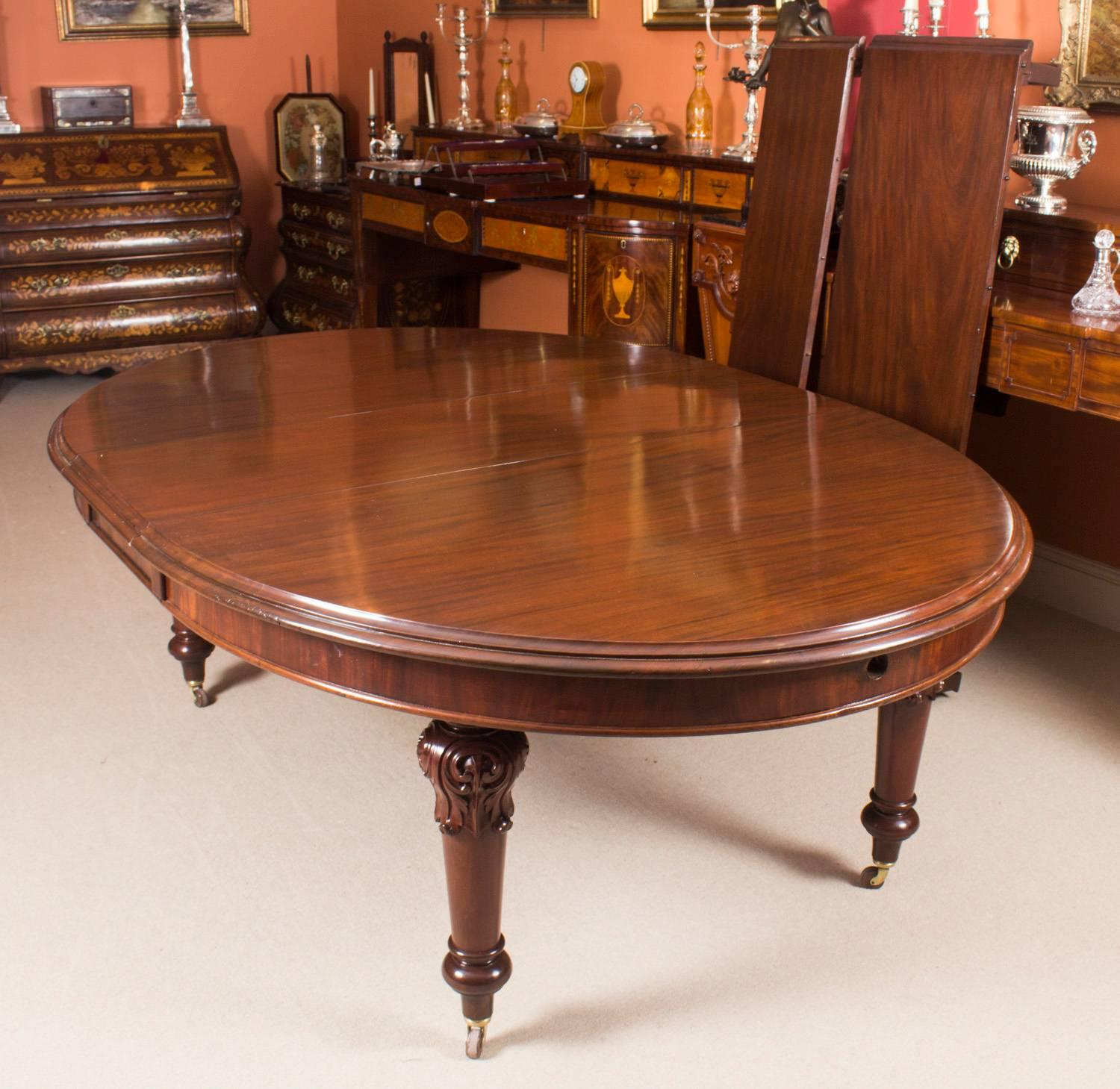 19th Century Victorian Oval Extending Dining Table And Ten Chairs At 1stdibs