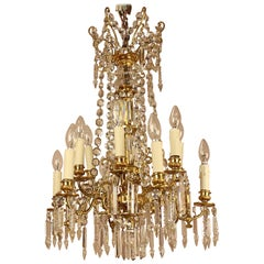 19th Century French Louis XVI Style 12-Light Gilt Bronze Cut Crystal Chandelier