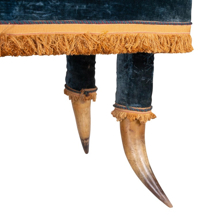 Fancy 14 horn chair with original blue velveteen fabric and silk fringe bottom and all horns. Came from an attorney's estate in Portland. Most probably made in Texas in the last half of the 19th century.