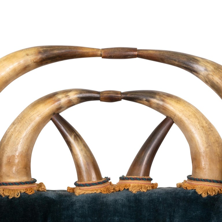 American 19th Century 14 Horn and Velvet Chair For Sale