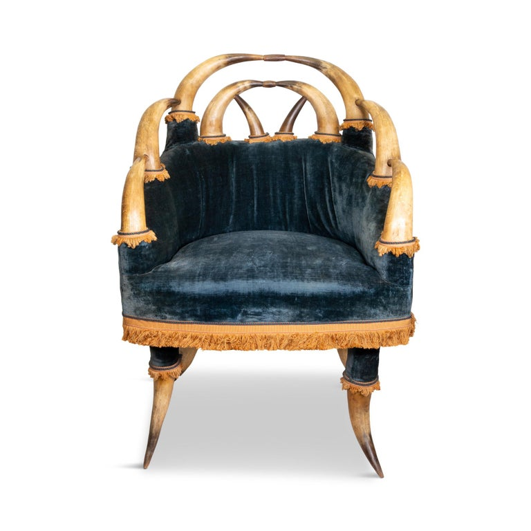 19th Century 14 Horn and Velvet Chair In Excellent Condition For Sale In Coeur d'Alene, ID