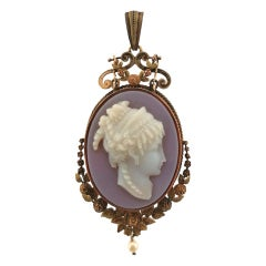 19th Century 14 Karat Gold and White Agate Locket Pendant